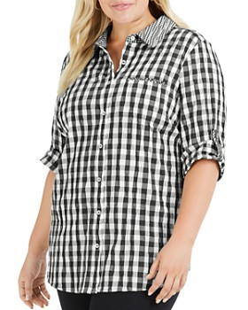 Foxcroft Plus - Reese Crinkled Gingham Shirt