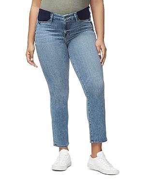 Good American Honeymoon Straight-Leg Maternity Jeans in Blue087-Women