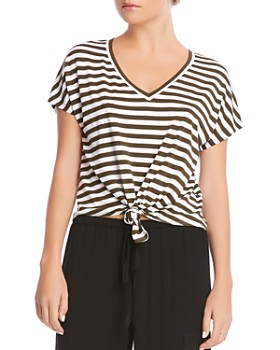 Bailey 44 - Ocelot Tie-Front Striped Tee