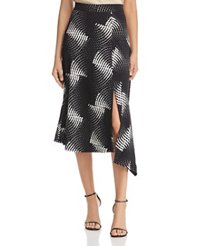 Kenneth Cole - Asymmetric Dot-Print Midi Skirt