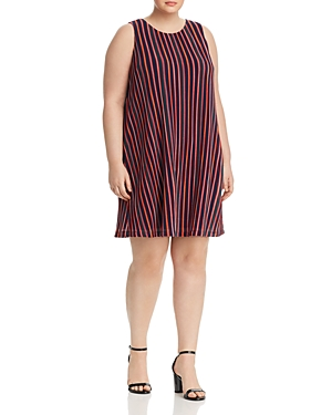 Adrianna Papell Plus Ribbed Stripe Trapeze Dress