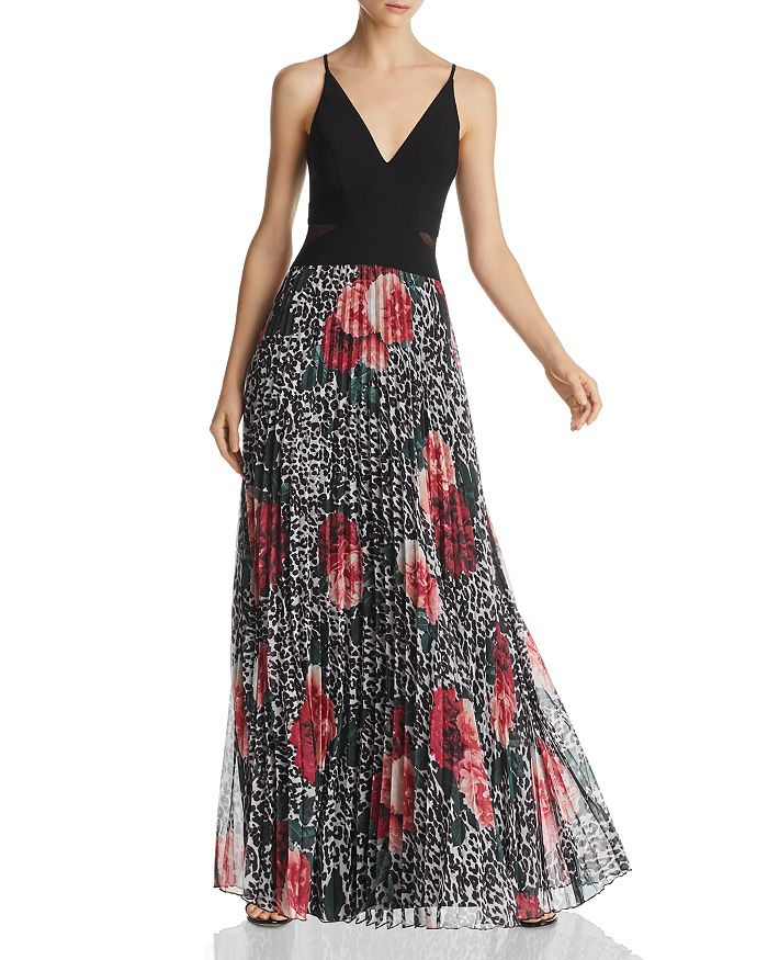 AQUA - Pleated Floral & Animal Print Gown - 100% Exclusive