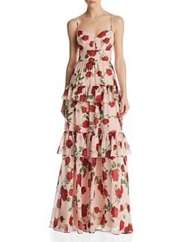 BCBG - Tiered Floral Gown