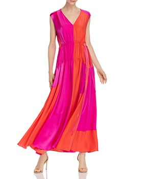 Amur - Lotta Color-Blocked Silk Maxi Dress