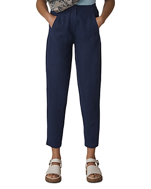 Whistles Cropped Tapered Linen Pants-Women