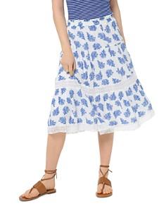 MICHAEL Michael Kors - Coral-Print Lace-Inset Midi Skirt