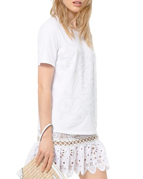 6198a3879a8 MICHAEL Michael Kors - Studded Floral-Pattern Tee ...