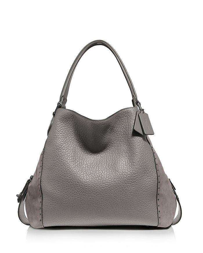 128252917 COACH Edie 42 Rivet Leather & Suede Shoulder Bag | Bloomingdale's