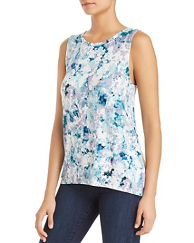 Cupio - Sleeveless Printed High/Low Top