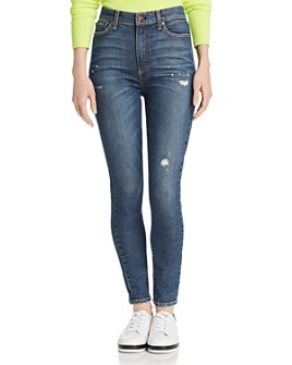 Alice and Olivia - Good High-Rise Distressed Ankle Skinny Jeans in Born To Run