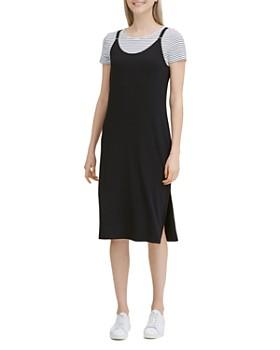 Calvin Klein - Striped Combo Double-Strap Slip Dress