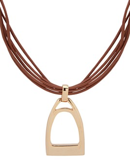 """Ralph Lauren - Leather Pendant Necklace, 15"""""""