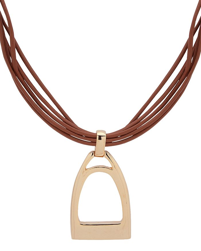 Ralph Lauren - Leather Pendant Necklace, 15""