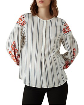 KAREN MILLEN - Embroidered Blouson-Sleeve Top