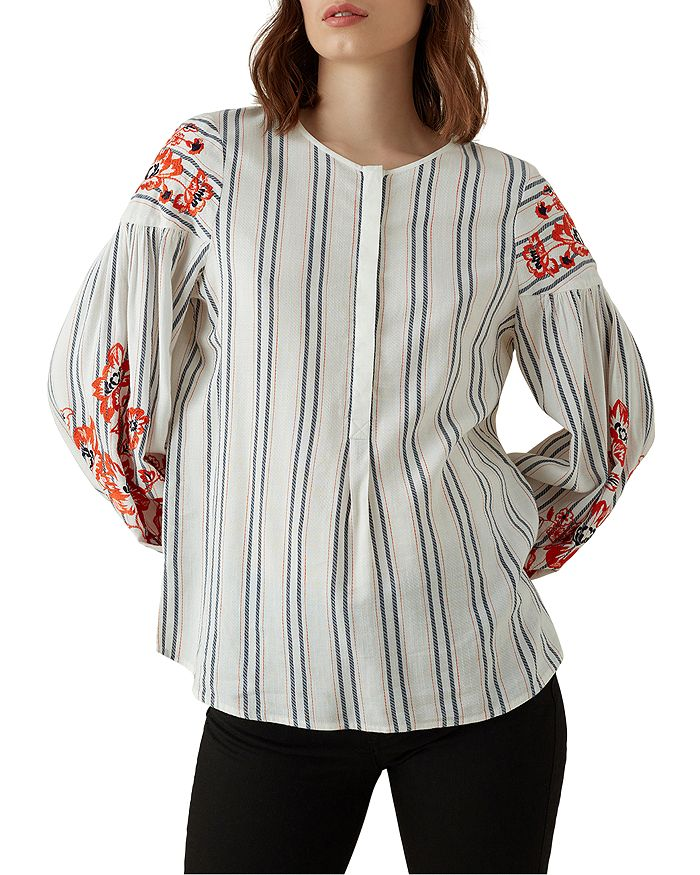 KAREN MILLEN - Embroidered Blouson-Sleeve Top
