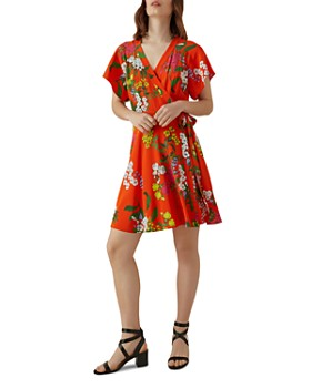 d16155f811b KAREN MILLEN - Floral Silk Wrap Dress ...
