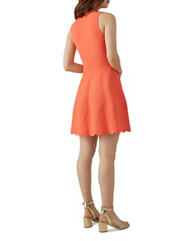 KAREN MILLEN - Scalloped Jacquard Fit-and-Flare Dress
