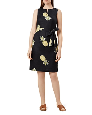 Hobbs London Amalfi Tie-Waist Pineapple Print Dress