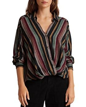 Velvet by Graham & Spencer - Nessa Twist-Front Striped Shirt