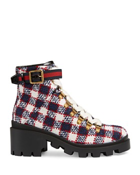9e3340637ee ... Gucci - Women s Trip Check Tweed Ankle Boots