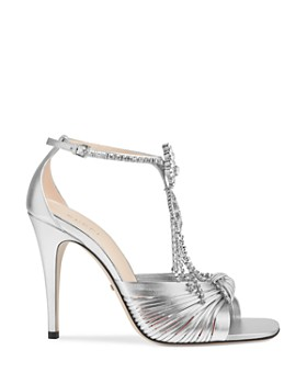 ae02f63be9d9 ... Gucci - Women s Crawford Metallic Leather Sandals with Crystal Chain