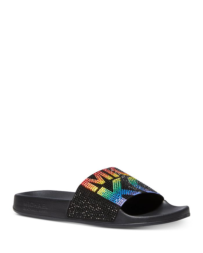 MICHAEL Michael Kors - Women's Gilmore Crystal-Embellished Slide Sandals