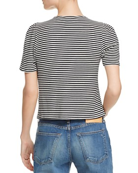 Honey Punch - Striped Tie-Front Tee