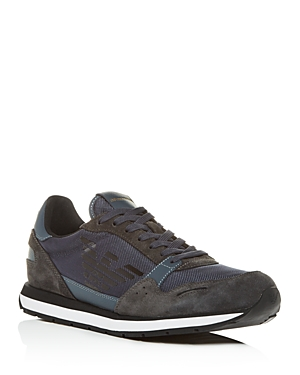 Armani Collezioni Men's Suede & Leather Low-Top Sneakers In Gray