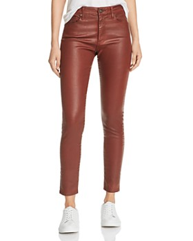 AG - Farrah Faux-Leather Ankle Skinny Jeans in Vintage Leatherette Rich Crimson
