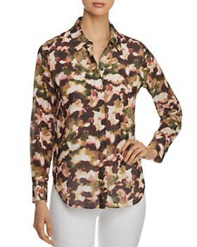 T Tahari - Printed Chiffon Button-Down Top