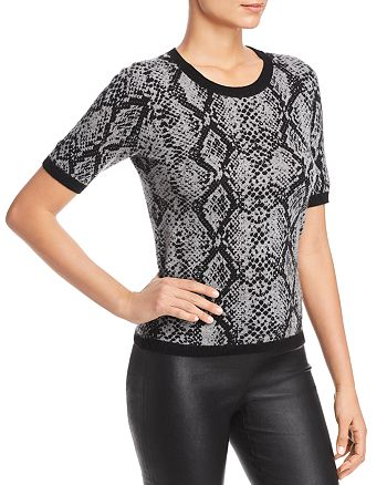 C by Bloomingdale's - Snake Print Short-Sleeve Cashmere Sweater - 100% Exclusive