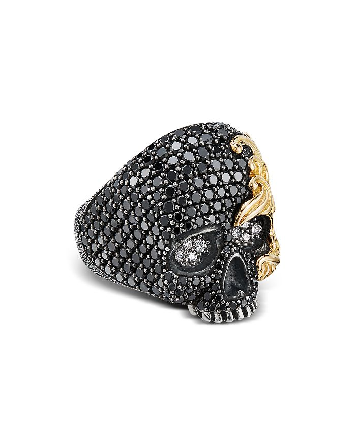David Yurman - Sterling Silver & 18K Yellow Gold Waves Skull Ring with Black & White Diamonds