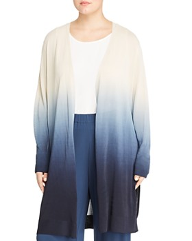 Lafayette 148 New York Plus - Dip-Dyed Open-Front Duster Cardigan