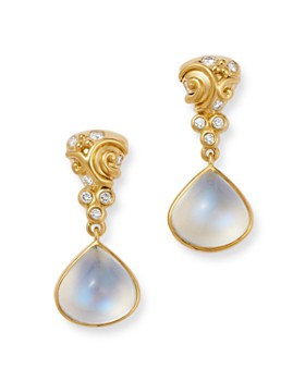 Temple St. Clair - 18K Yellow Gold Whirlpool Drop Earrings with Blue Moonstone & Diamonds