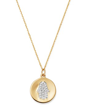 KC Designs - 14K Yellow Gold Diamond Hamsa Disc Necklace, 16""