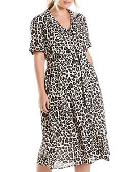 Estelle Plus - Lady Belted Leopard-Print Dress