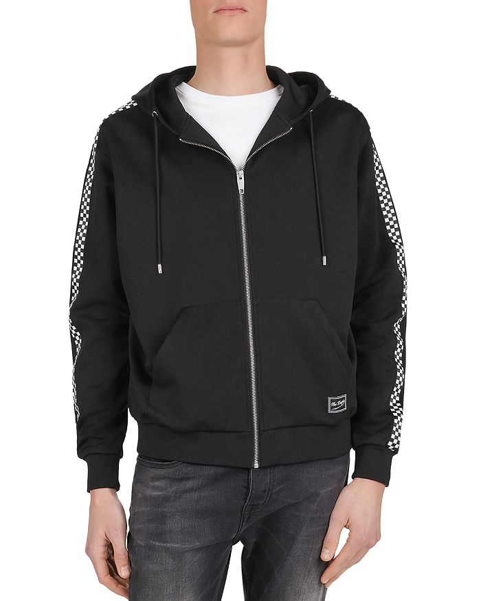 The Kooples - Checkered-Trim Technical Fleece Zip-Front Hoodie