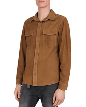 The Kooples - Suede Regular Fit Snap-Front Shirt