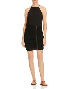 HALSTON - Ruched Zipper Dress