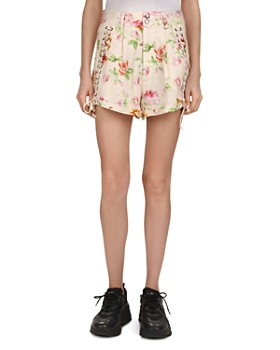 e556f9cacd The Kooples - Antique Flowers Lace-Up Detail Linen Mini Shorts ...