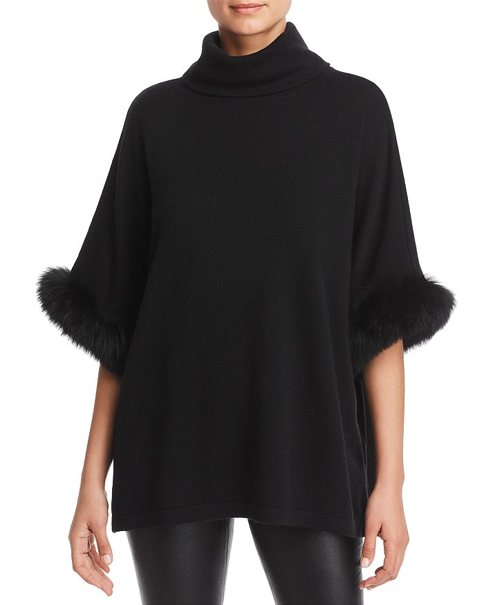 C by Bloomingdale's - Fox Fur-Trim Cashmere Poncho - 100% Exclusive