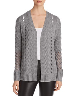 C by Bloomingdale's - Mixed-Stitch Open-Front Cashmere Cardigan - 100% Exclusive