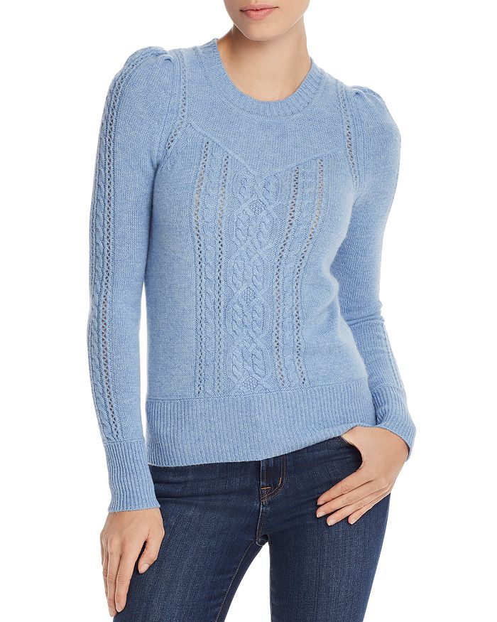 AQUA - Mixed-Knit Cashmere Sweater - 100% Exclusive