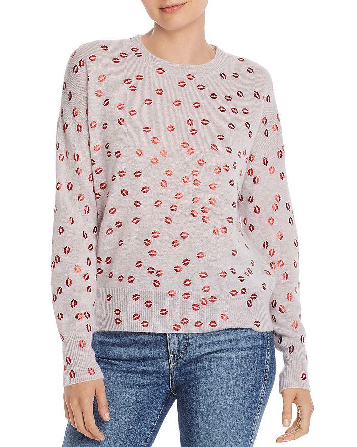 AQUA - Foil Lips Print Cashmere Sweater - 100% Exclusive
