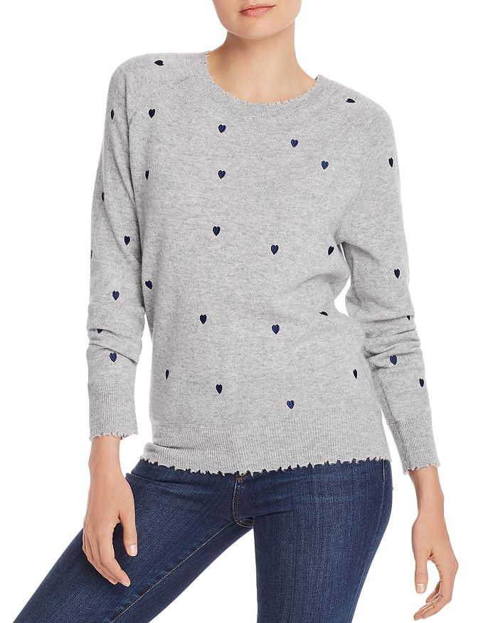 AQUA - Embroidered Heart Cashmere Sweater - 100% Exclusive