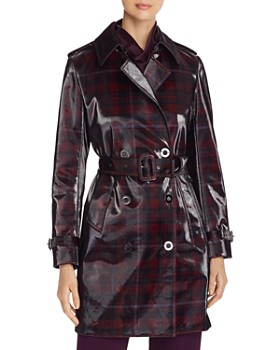 Elie Tahari - Natania Glossy Plaid Trench Coat