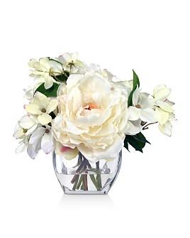 Diane James Home - Rose & Dogwood Faux Floral Arrangement in Glass Vase