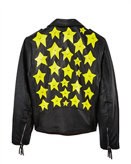 PATRICK CHURCH - Hand-Painted Star Leather Moto Jacket - 100% Exclusive