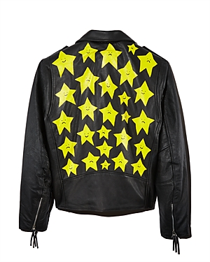 Patrick Church Hand-Painted Star Leather Moto Jacket - 100% Exclusive