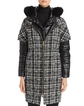 Herno - Fur-Trim Houndstooth Mixed Media Coat